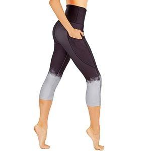 Ombre leggings side pockets capri high waist